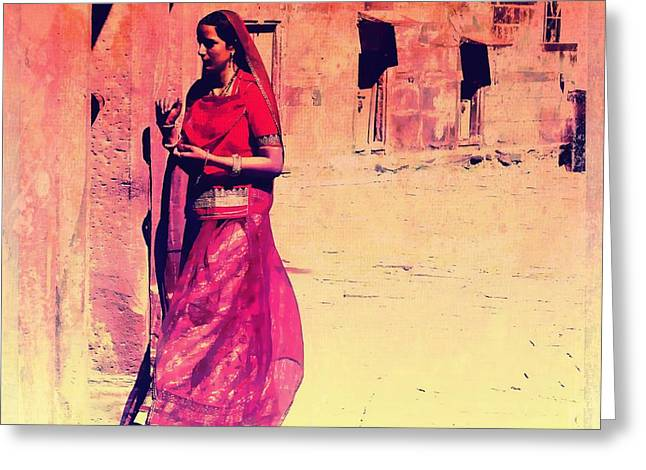 Royal Art Greeting Cards - Indian Beauty Rajasthan Exotic Travel Woman Pink Red Orange 1e Greeting Card by Sue Jacobi