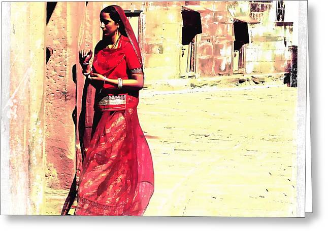Royal Art Greeting Cards - Indian Beauty Rajasthan Exotic Travel Woman Square 1k Greeting Card by Sue Jacobi