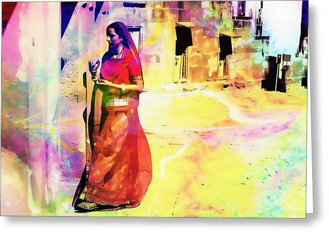 Royal Art Greeting Cards - Indian Beauty Rajasthan Exotic Travel Woman Watercolor 1f Greeting Card by Sue Jacobi