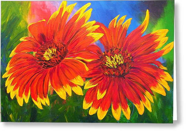 Mj Paintings Greeting Cards - Indian Blanket Flowers Greeting Card by Mary Jo  Zorad