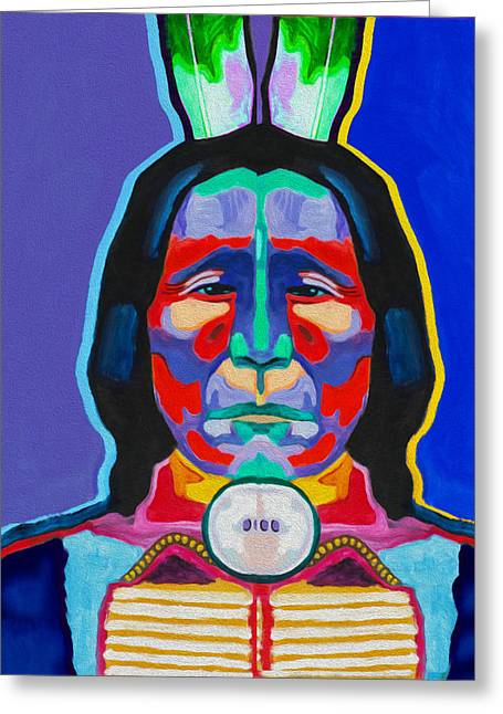 Indian By Nixo Greeting Card by Nicholas Nixo
