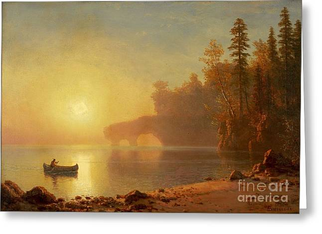 Canoe Paintings Greeting Cards - Indian Canoe Greeting Card by Celestial Images