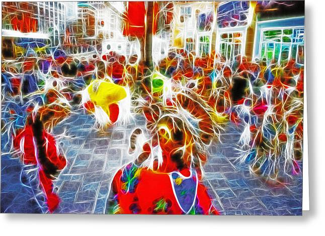 Main Street Mixed Media Greeting Cards - Indian Ceremonial Dance - 2002 Winter Olympics Greeting Card by Steve Ohlsen