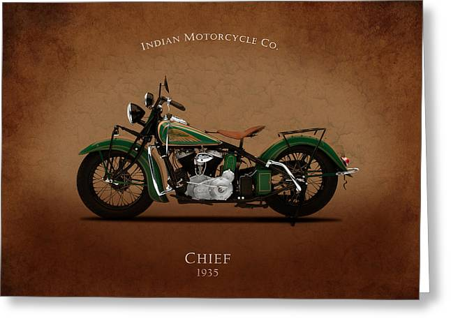 Indian Chief Greeting Cards - Indian Chief 1935 Greeting Card by Mark Rogan