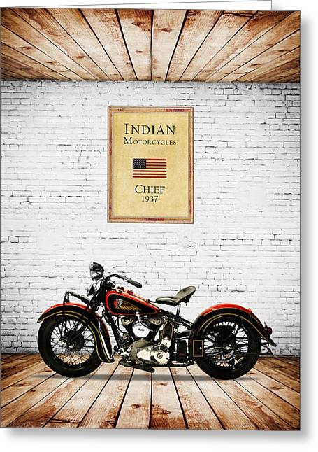 Indian Chief 1937 Greeting Card by Mark Rogan