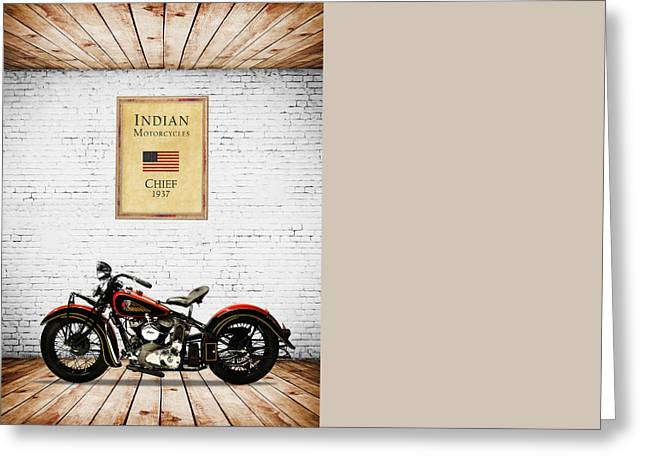 Indian Chief Greeting Cards - Indian Chief 1937 Greeting Card by Mark Rogan