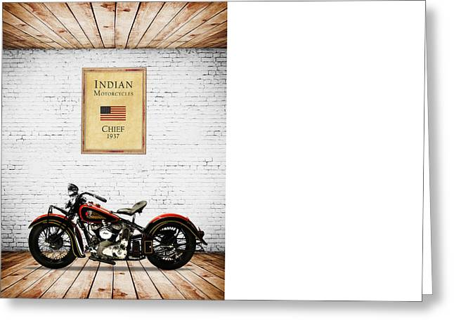 Harley Davidson Greeting Cards - Indian Chief 1937 Greeting Card by Mark Rogan