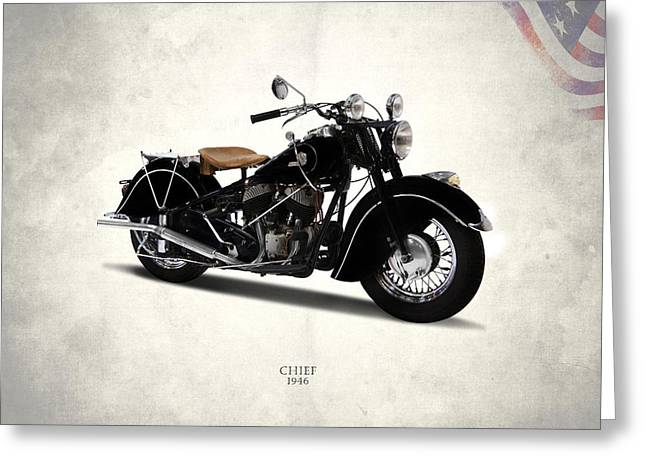 Harley Davidson Greeting Cards - Indian Chief 1946 Greeting Card by Mark Rogan