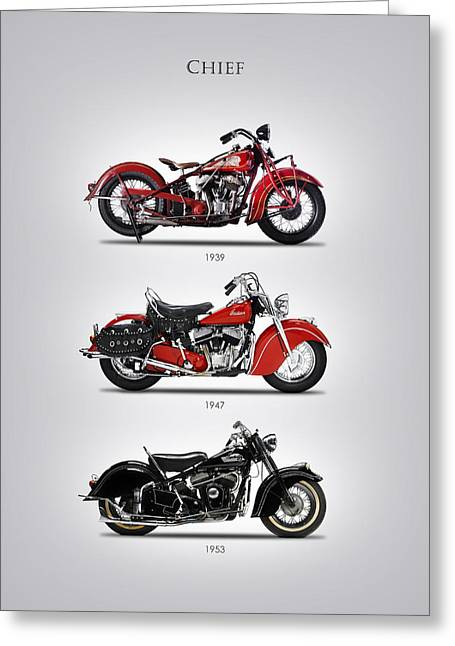 Motorcycles Greeting Cards - Indian Chief Trio Greeting Card by Mark Rogan