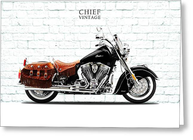 Motorcycles Greeting Cards - Indian Chief Vintage Greeting Card by Mark Rogan