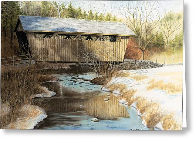 Winter Scene Pastels Greeting Cards - Indian Creek Covered Bridge Greeting Card by James Clewell