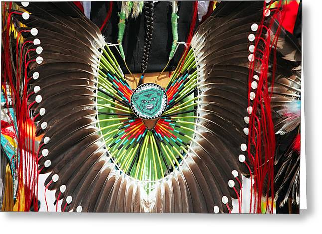 Powwow Greeting Cards - Indian Decorative Feathers Greeting Card by Todd Klassy