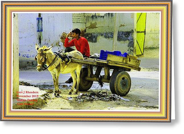 Indian Donkey Cart Owner H A With Decorative Ornate Printed Frame. Greeting Card by Gert J Rheeders