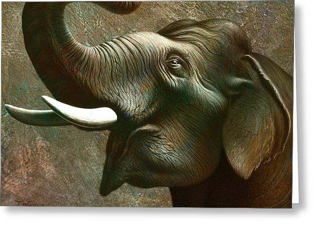 Tusk Greeting Cards - Indian Elephant 3 Greeting Card by Jerry LoFaro