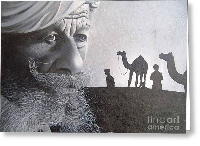 Indian Face Greeting Card by Dhiraj Parashar