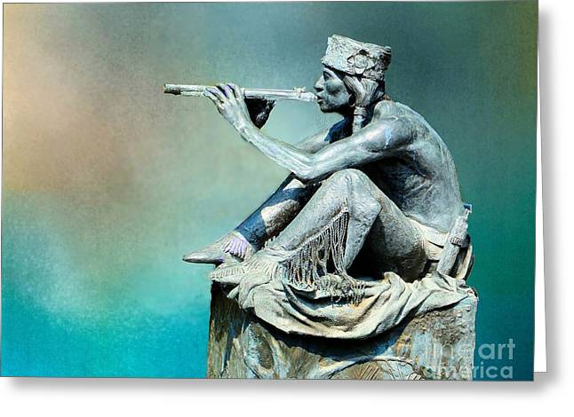 Player Greeting Cards - Indian Flute Player Greeting Card by Janette Boyd