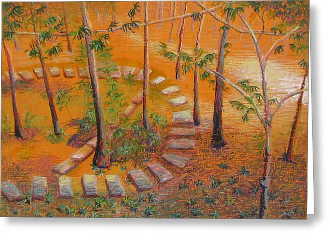 Stone Steps Pastels Greeting Cards - Indian Garden Greeting Card by Art Nomad Sandra  Hansen