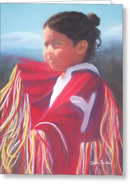 Wow Pastels Greeting Cards - Indian Girl Dancing Greeting Card by Diane Caudle