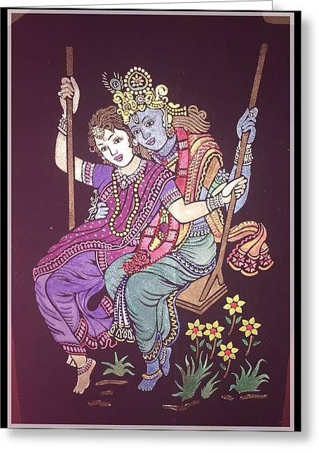 India Tapestries - Textiles Greeting Cards - Indian god krishna and radha Greeting Card by Kala Pit