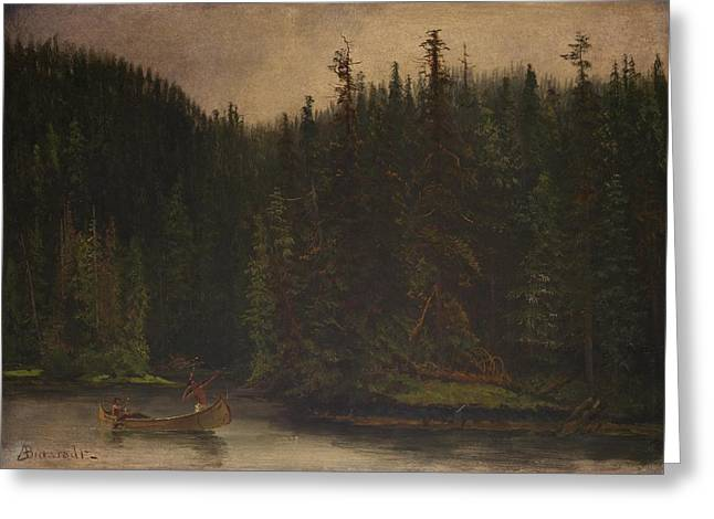 Canoe Waterfall Greeting Cards - Indian  Hunters  in  Canoe Greeting Card by Albert  Bierstadt