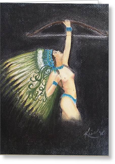 Maiden Pastels Greeting Cards - Indian Maiden Princess Greeting Card by Kris Dean