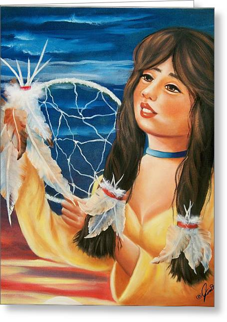 Native American Greeting Cards - Indian Maiden with Dream Catcher Greeting Card by Joni McPherson
