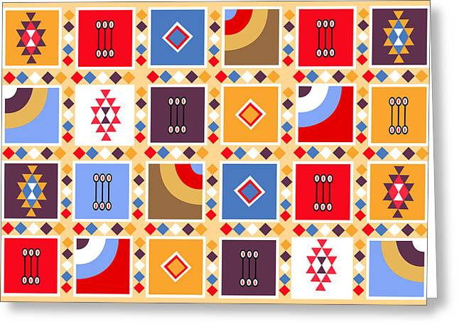 Repetition Drawings Greeting Cards - Indian Mexico Pattern On The Carpet Greeting Card by Dragana  Gajic