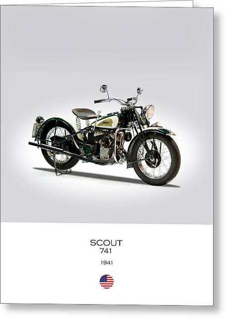 Indian Model 741 1941 Greeting Card by Mark Rogan