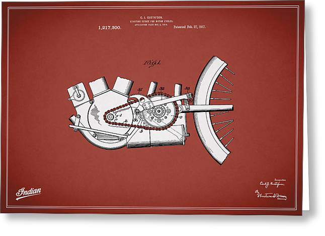 Indian Motorcycle Patent 1917 Greeting Card by Mark Rogan