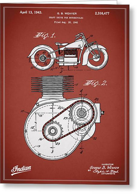 Indian Motorcycle Patent 1943 Greeting Card by Mark Rogan