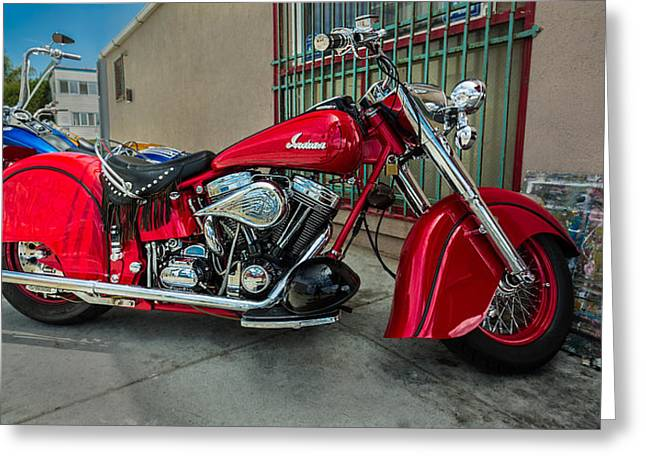 Motorcycles Pyrography Greeting Cards - Indian Motorcycle Greeting Card by Rick Strobaugh