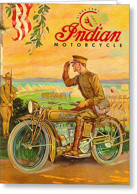 World War One Paintings Greeting Cards - Indian Motorcycles World War One Vintage Ad Greeting Card by Big 88 Artworks