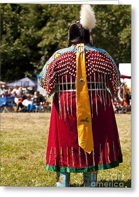 Indian Nation Pow Wow Dancers Greeting Card by Jim Corwin