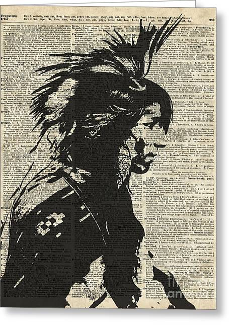 Home Decor Posters Mixed Media Greeting Cards - Indian Native American Greeting Card by Jacob Kuch
