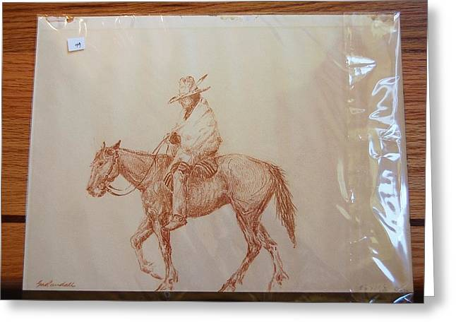 Conte Pencil Drawings Greeting Cards - Indian on horse Greeting Card by Smart Healthy Life