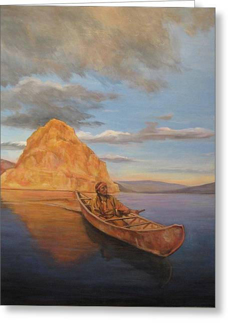 Canoe Paintings Greeting Cards - Indian on Lake Pyramid Greeting Card by Donna Tucker