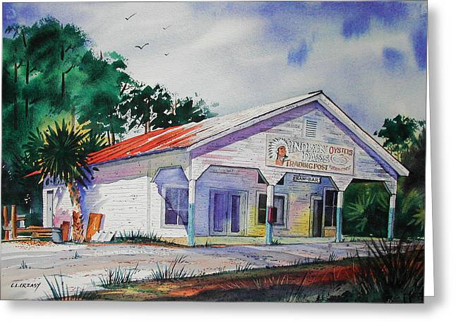 Florida Panhandle Paintings Greeting Cards - Indian Pass Raw Bar Greeting Card by Chuck Creasy