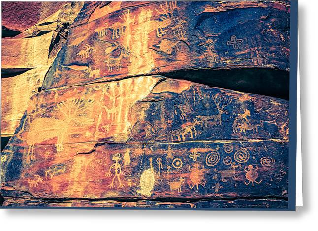 Civilization Greeting Cards - Indian Petroglyphs Greeting Card by Alexey Stiop