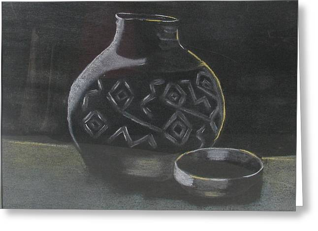 Jugs Pastels Greeting Cards - Indian Pottery Greeting Card by Darlene Campbell