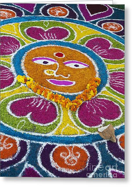 Indian Art Greeting Cards - Indian Rangoli Face  Greeting Card by Tim Gainey