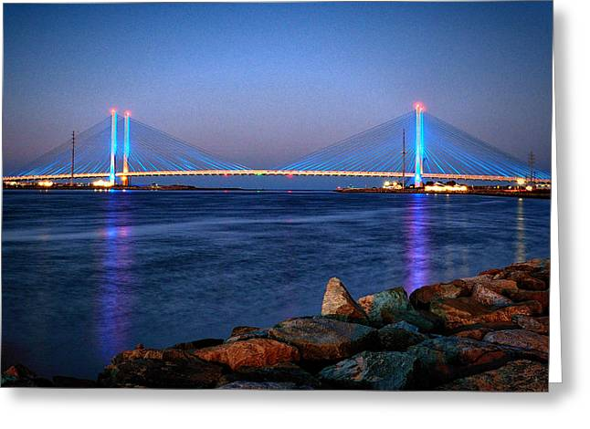 Indian River Inlet Bridge Twilight Greeting Card by Bill Swartwout
