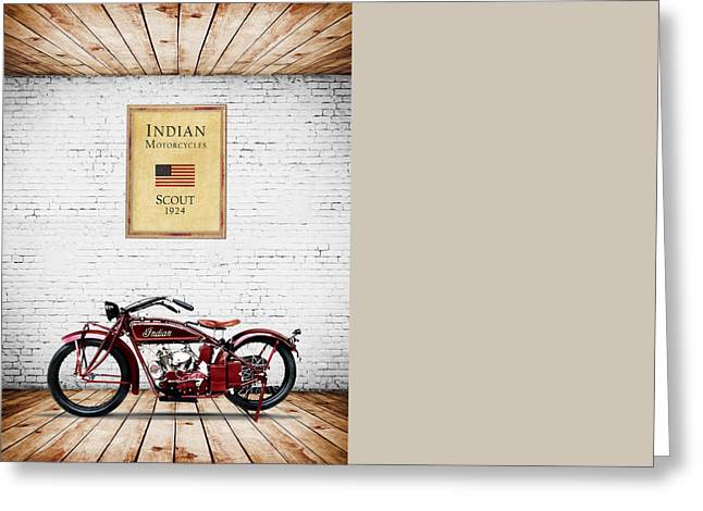 Scout Greeting Cards - Indian Scout 1924 Greeting Card by Mark Rogan