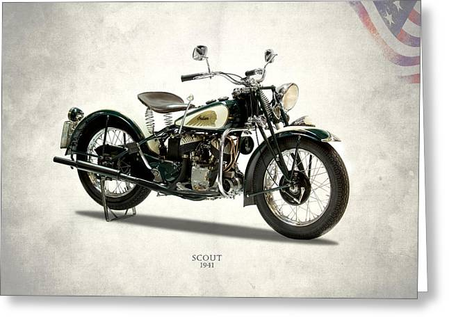 Scout Greeting Cards - Indian Scout 741 1941 Greeting Card by Mark Rogan