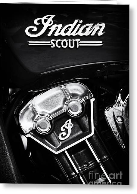 Motorcycle Engines Greeting Cards - Indian Scout Abstract Greeting Card by Tim Gainey