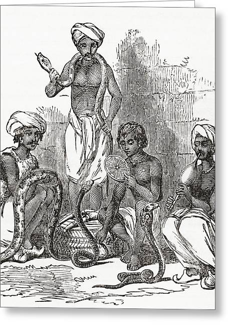 Dangerous Drawings Greeting Cards - Indian Snake Charmers In The 19th Greeting Card by Ken Welsh