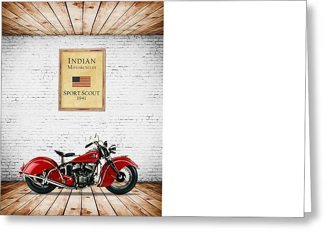 Scout Greeting Cards - Indian Sport Scout 1941 Greeting Card by Mark Rogan