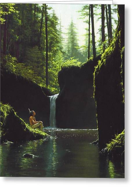 Lanscape Paintings Greeting Cards - Indian Summer Greeting Card by Dan  Nance