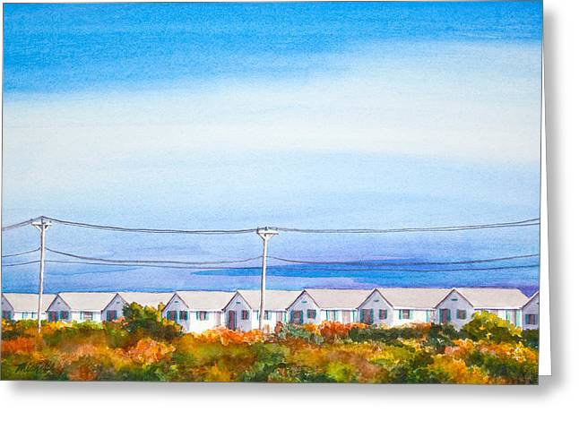 Afternoon Light Greeting Cards - Indian Summer Days Cottages North Truro Massachusetts Watercolor Painting Greeting Card by Michelle Wiarda