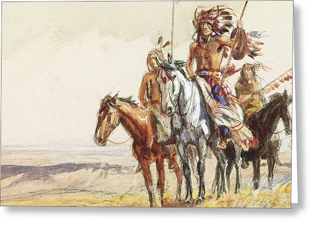 Indian War Party Greeting Card by Charles Marion Russell