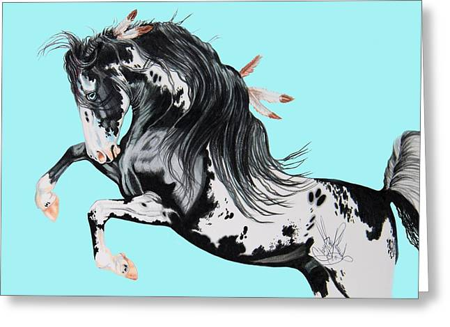 Horse Drawing Greeting Cards - Indian War Pony - Mustang Greeting Card by Cheryl Poland
